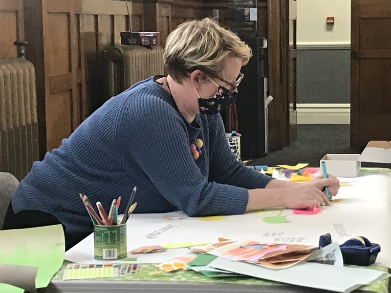 Josie Brooks creates a live illustration as part of a creative conversation (2021) Photo by Elizabeth Kane Creative Producer on behalf of Helix Arts ©